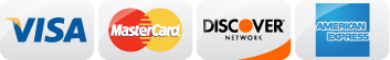 VISA MasterCard Disocver AmEx accepted